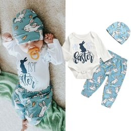 e726ad714 2019 My 1st Easter Newborn Baby Boy Girl Bunny Romper + Pants + Hat 3Pcs Outfit  Clothes Summer
