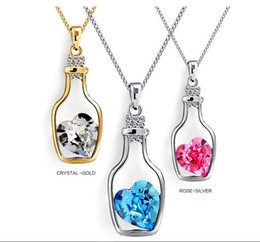 Necklaces Pendants Australia - JUXU New Bottles And Love Crystal Pendant Necklace Cheap Diamond Alloy Necklace Sweater Necklace Locket Jewelry