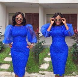 $enCountryForm.capitalKeyWord Australia - New 2019 Royal blue Aso ebi Short Cocktail Dresses Puffy Sleeve Jewel African Prom DressesLace Knee-length Sheath Evening Party Wear Gowns
