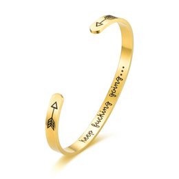 $enCountryForm.capitalKeyWord UK - (10pcs) Inspirational Gifts Bracelet Cuff Bangle Women Mantra Quote Engraved Stainless Steel Silver keep fucking going bracelet