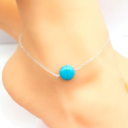 $enCountryForm.capitalKeyWord Australia - Turquoise Pendant Ankle Bracelet Silver Gold Plated Chain Link Beach Anklets Foot Jewelry for Women Sandals Anklets Foot Accessories FE
