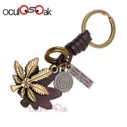 $enCountryForm.capitalKeyWord Australia - Oculosoak Charm Alloy Maple Leaves Keychains Metal Car Keyring 2019 Fashion Bronze Women Handbag Key Holder For Men Jewelry