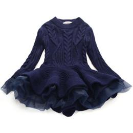 Vente en gros Mode Automne Hiver Filles Laine Chandail Tricoté Bébé Fille Robe Filles Princesse Organza Laine Robes Vêtements Bébé Fille