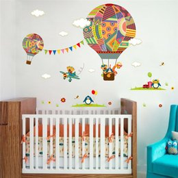 hot air balloon wall UK - colorful Hot Air Balloon Animal Nursery Room wall sticker Bear Giraffe children 's room cartoon classroom Wall Decals Poster