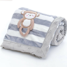 Quilts Bedding Cute UK - Cute Baby Cartoon Pictures Flannel Blanket Bedding Quilt Bedspread Towel Wrap