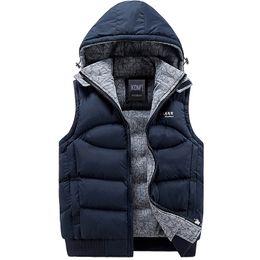 Venta al por mayor de Chaqueta de los hombres sin mangas Veste Homme Mens moda de invierno abrigos casuales con capucha de algodón acolchado para hombre chaleco chal de engrosamiento