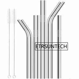 Hot Bar Australia - wholesale hot sale6mm 8mm 9mm 10mm 12mm Reusable Stainless Steel Straws Metal Cocktail Drinking Straw brush for 20oz 30oz Tumbler Party Bar