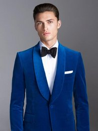royal blue silver grey for wedding UK - Men's Suit Royal Blue Business Suit Formal Tuxedo Jacket Elegant Blazer Slim Fit Wedding Suits For Men Fatos De Casamento