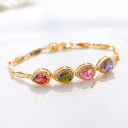 Ruby Charms Australia - Cab005 Trendy Summer New Fashion Hot Round Crystal Jewelry Charm Bracelet & Bangles Anklet For Women Gold Bracelets For Women J190625