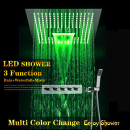 concealed shower set Australia - Concealed Shower Set Hot Cold Mixer Faucets SUS304 With Embedded Ceiling LED Shower Head 400x400mm 3 Functions Rainfall Mist Waterfall