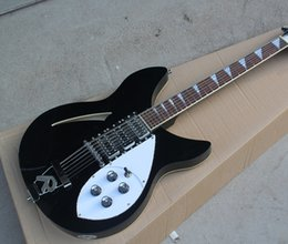 hollow guitar black Australia - Free shipping! Wholesale High Quality Semi-Hollow Black Electric Guitar with 12 Strings,R Tailpiece ,White Pearl Dots Fret Inlay,4 Knob 0419