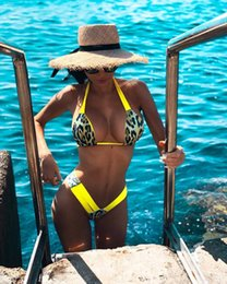 a0773a39b3 2 Colors Leopard Print Lady Two Pieces Bikini Sexy Swimsuit Woman Bathing  Suits Swimwear Wading Exercise With Chest Pad A0843