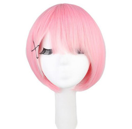 35 Hair UK - Short Straight Cosplay Rem Ram Pink and Blue 35 Cm Synthetic Hair Wigs