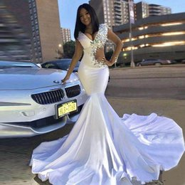 White Crystal Short Party Dresses Australia - White Long Prom Dresses 2019 Sexy V-neck Crystals New Design Elegant African White Mermaid evening Dress For Party