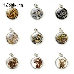 steampunk circle glasses 2019 - 2019 Vintage Steampunk Gearwheels Patterns Fashion Charms Glass Cabochon Hand Craft Stainless Steel Pendants Jewelry Acc