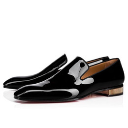 $enCountryForm.capitalKeyWord Australia - Name Brand Red Bottom Loafers Luxury Party Wedding Shoes Designer BLACK PATENT LEATHER Dress Shoes For Mens Slip On Flats