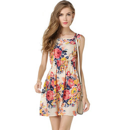 new style skirt ladies 2019 - Fashion Women Dress Floral Print Sleeveless Elegance Style Chiffon New Casual Summer Vest Skirt for Ladies Nice Short Dr