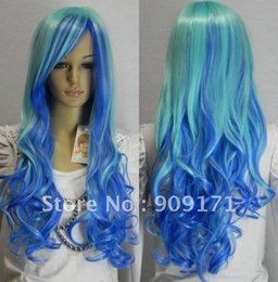 $enCountryForm.capitalKeyWord Australia - free Shipping * NEW blue mix long curly full WIG Lady Girls Cosplay Peluca Products WIGS