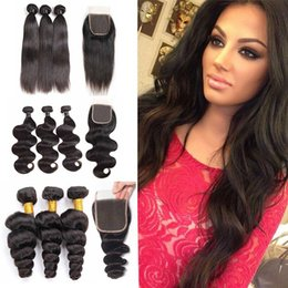 34 inches hair Australia - 9A Brazilian Virgin Body Wave Straight Human Hair Bundles With Lace Closure Indian Peruvian Deep Water Wave Human Hair Extensions Bundles