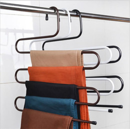 s hook stainless Australia - New Wardrobe Storage S Type Pants Trousers Hanger Multi Layers Stainless Steel Clothing Towel Storage Rack Closet Space Saver pants hook