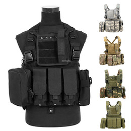spring shooting Canada - Army Shooting Vest with AK Mag Pouches Adjustable Tactical Combat Vest Outdoor Paintball Shooting Molle Waistcoat