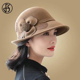 dd4777166d5 FS Elegant Wide Brim Flower 100% Wool Felt Hats Lady Formal Wool Fedora  Feather Red Black Round Hat Women Cloche Caps