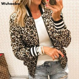 sexy outerwear coats UK - Wuhaobo Sexy Leopard Casual Jackets Women Spring Autumn Basic Print Bomber Zipper Coat Fashion Long Sleeve Female Slim Outerwear