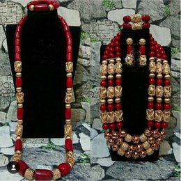 Big Bead Red Coral Australia - Big Luxury Real Beads Wedding Wine Red African Coral Bridal Couple Jewelry Sets for Bride and Groom ABH711 C18122701