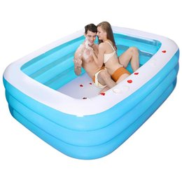large inflatable pools NZ - 130cm Large Inflatable Swimming Pool Children Adults Bathing Tub Baby Home Use Paddling Pool Inflatable Square Kids