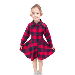 $enCountryForm.capitalKeyWord UK - Cotton Plaid Girl Dress Shirt Skirt With Button Front Up And Waist Belt Design Kid Clothes