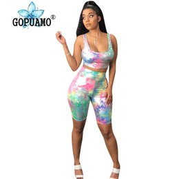 $enCountryForm.capitalKeyWord Australia - Colorful Tie Dye Two Piece Tracksuits Summer Clothes For Women O Neck Sleeveless Tank Top And Skinny Shorts Casual Club Outfits