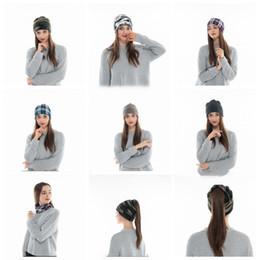 a74f9513326942 2 in 1 hat Winter Hat Girl Ponytail Beanie Hat Women Warm Caps  Multifunctional Stylish Scarf Cap Slouchy Beanie LJJK1149