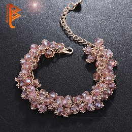 Lobster Extension Chain Australia - BELAWANG Women Rose Gold Strands Bracelets Rose Gold Crystal Stone Charm Bracelets For Special Jewelry Gift 18+4cm Extension Free Shipping