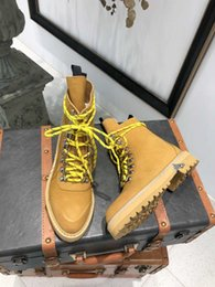 boots martins NZ - World tour black yellow fashion non-slip Martin boots designer shoes frosted leather face luxury locomotive high help women's shoes