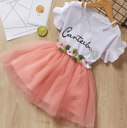 $enCountryForm.capitalKeyWord Australia - Girls Dresses 2019 Brand Kids Clothes Butterfly Sleeve Letter T-shirt+Floral Voile Dress 2Pcs for Clothing Sets Children Dress GB609