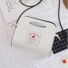 Leather bag hand strap online shopping - Women Cake Pattern Printing Shoulder Bag PU Leather Handbag Beach Bag Zipper Straps Girls Hand Bag LJJP221