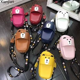 cartoon shape women bags Australia - 2020 Xianjian Girls PU Leather Cartoon Crossbody Bag Unique Shoes Shaped Mini Small Double Zipper Bum Bag with bear