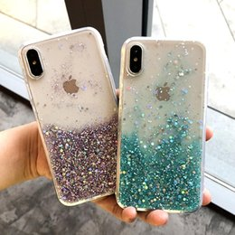 Wholesale Star liquid case for iphone plus Plus X XR XS max girly phone cover soft bling protective imd bumper case