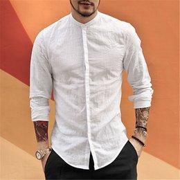 $enCountryForm.capitalKeyWord Australia - Casual Mandarin Collar Shirt Men Cotton Linen Designer Brand Slim Fit Man Shirts Long Sleeve White Shirts Man summer S2105