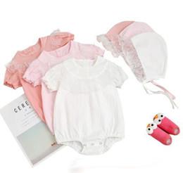 Romper Infant Australia - Baby girl Designer Clothes Romper Infant Solid Color Lace Design Short Sleeve Round Collar Romper 100% cotton Summe clothes