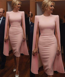 $enCountryForm.capitalKeyWord Australia - Hot Sale Long Sleeves Short Evening Dresses Jewel Neck Sheath Light Pink Prom Gown Knee Length Satin Formal Dress