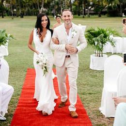 Ivory Linen Suit Australia - Ivory Linen Latest Coat Pants Designs Men Suits for Beach Wedding Groom Tuxedos Man Blazer Two Piece Costume Homme Handsome Terno Masculino