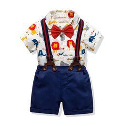 $enCountryForm.capitalKeyWord UK - INS Kids Boys Casual Suits Summer Gentleman Tatting Cotton Cartoon Lion Romper+Bow Tie+Belt +Pants 4pcs Set Children Kids Boys Clothing Sets