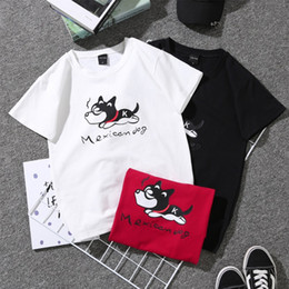 Loose white t shirt dress online shopping - Little Dog Printing T Shirt Summer Man Women Loose Cotta Short Sleeve Couples Dress Black White Red Breathable ls D1