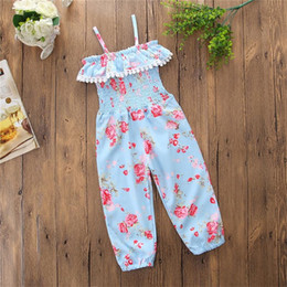 Girls floral jumpsuit suspender trousers online shopping - Floral Toddler Baby Girls Jumpsuits Kids Suspender Romper Elastic Waist Pants Trousers Flowers Printed Kids Summer Clothes