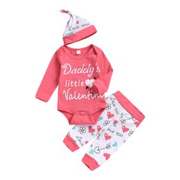 Little Hats Australia - Daddy Little Valentine Baby Girls Pink Clothes Outfits Romper Pants Hat Headband Four Pieces Infant Baby Clothing Heart Arrow Toddler 0-18M