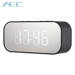 aec bluetooth Australia - AEC Portable Wireless Bluetooth Stereo Music Speaker LED Display Column Subwoofer Box Loudspeaker With Alarm Clock Mirror BT501 BA