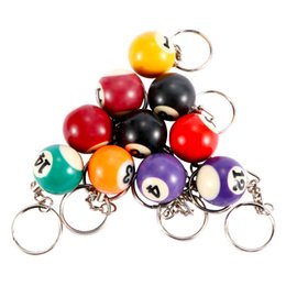 Table Charm Wholesale Australia - 1Pcs 25mm Billiard Snooker Table Ball Key Chain Key Ring For Unisex Handbag Charm Delicate Sport Jewelry Accessories