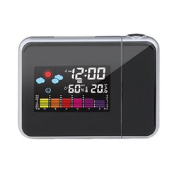 alarm housing UK - Black Digital Projection Snooze Alarm Clock Colorful LED Display Backlight Silent No Ticking Clock Weather Station House Clocks