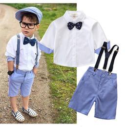 Ingrosso 2019 estate nuovo ragazzo signore collegio vento giacca tinta unita camicia a maniche corte + pantaloncini cinghia + farfallino